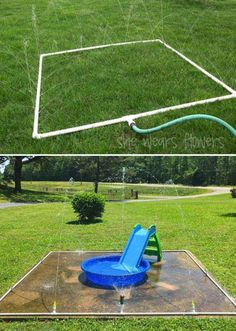 This easy and inexpensive splash pad from PVC pipes will let kids enjoy hours of water fun. This easy and inexpensive splash pad from PVC pipes will let kids enjoy hours of water fun. Kids Outdoor Play, Kids Play Area, Backyard For Kids, Backyard Games, Outdoor Fun, Backyard Landscaping, Large Backyard, Garden Games, Backyard Splash Pad