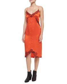 Izabella+Silk+Lace+Slip+Dress,+Spicy+Orange+by+Rag+&+Bone+at+Neiman+Marcus.