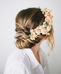 Pretty bun with floral crown. ; this would look so cute for a wedding!!❤
