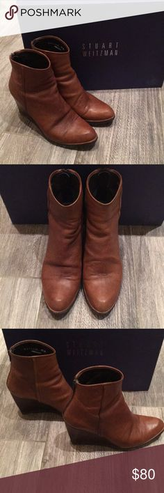 """Stuart Weitzman walnut vecchio Napa leather boots Authentic Stuart Weitzman walnut vecchio Napa leather boots Sz 7.5. Approx boot height is 7 3/4"""" and wedge height is approx 3 1/4.""""  Regular wear, some scuffs on back of heel, front of toes and near zipper back as shown. Variations in leather is part of the beauty. Very comfortable. Comes with original box as shown, peeled sticker as shown. Stuart Weitzman Shoes Heeled Boots"""