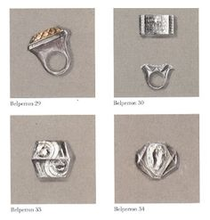 Gouache designs for rings by Suzanne Belperron.