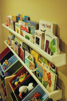 Inexpensive Book Shelves from plastic gutters!