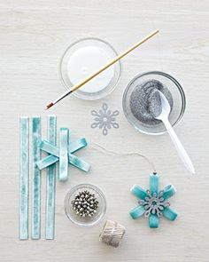 For the Ribbon Snowflakes - Eric Pike's Glittered Snowflake Ornaments - Step 5 - MarthaStewart.com