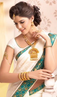 ❋ Beautiful Traditional South Indian Temple Pendent & other #Jewelry by @PrinceJewelery http://www.PrinceJewellery.com/ ❋ Bajubandh & Bangles are particularly exquisite