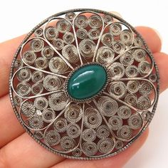925 Sterling Silver Antique Real Green Onyx Gemstone Filigree Pin Brooch Filigree Jewelry, Silver Filigree, Long Necklaces, Wide Rings, Vintage Jewelry, Unique Jewelry, Green Onyx, Silver Rounds, Smoky Quartz