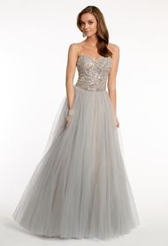 Strapless Beaded Dress with Tulle Skirt