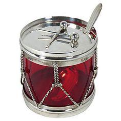 Sterling Silver & Ruby Glass Jam Jar