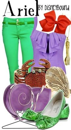 Love the green flats, sebastian crab bracelet and of course, the fork necklace :) Disney Bound Ariel