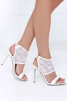 Blue by Betsey Johnson Sloan Ivory Lace High Heels at Lulus.com!
