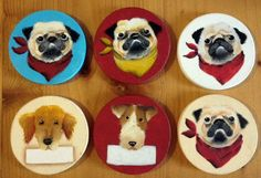 Dog painting magnets
