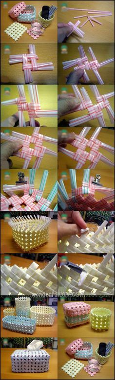DIY Creative Drinking Straw Basket. See the tutorial