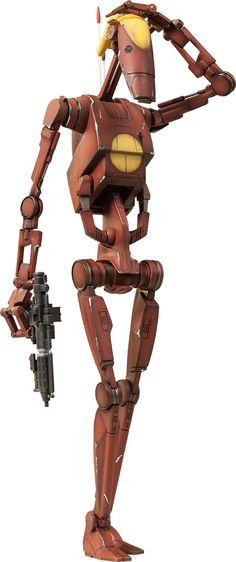 """Geonosis Commander Battle Droid and Count Dooku Hologram. Battle Droid Sixth Scale Figure Set by Sideshow Collectibles. Stands 12"""" and weighs 2 lb."""