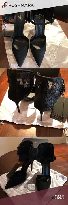 shoes Giuseppe Zanetti Black suede pump with beautiful detailed lace backing. Brand new. Comes with dust bag and box. Giuseppe Zanotti Shoes Heels