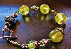 Bracelet yellow glass vintage animal charm toggle by ArtsyAnnas, $56.00