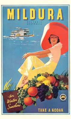 Vintage James Northfield - Mildura Victoria Australian Travel Posters Prints - c. Vintage Travel Posters, Vintage Postcards, Posters Australia, Happy Australia Day, Pub Vintage, Wedding Vintage, Vintage Gifts, Australian Vintage, Retro Poster