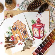 Вот вам ещё новогоднего. На Behance есть весь проект One more Christmas illustration - gingerbread house ❄️☃ #illustration #watercolor #Christmas #gingerbreadhouse