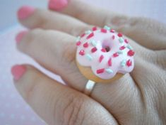 Pink Doughnut Ring - Donut Jewelry - Polymer Clay Rings - Colorful Jewelry - Fimo Accessories - Gift for Her - Miniature Sweets - Tiny Food