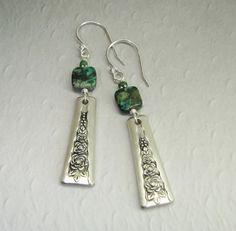 Vintage Spoon Earrings, African Turquoise, Gardenia 1941, Sterling Silver Ear Wires