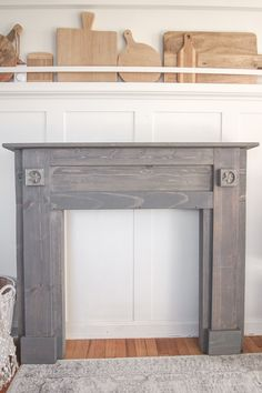 Painted Mantels A Rustic Mantel Is Given Big Makeover For The Holidays See How Milk Paint Fireplace Pictures Painted Fireplace Mantels, Distressed Fireplace, Oak Mantle, Rustic Mantel, Paint Fireplace, Brick Fireplace Makeover, Fireplace Pictures, Brick And Wood, Rustic White