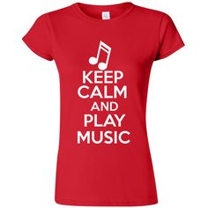 Junior Keep Calm and Play Music Musician Novelty Statement T-Shirt Tee ($16) ❤ liked on Polyvore featuring tops, t-shirts, black, women's clothing, black top, black t shirt, snug top and black tee