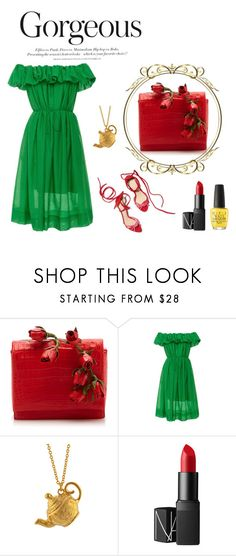 """Green & Red"" by indiemess1 ❤ liked on Polyvore featuring Nancy Gonzalez, H&M, Paule Ka, Alex Monroe, NARS Cosmetics and OPI"