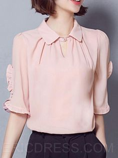 Ericdress Solid Color Polo Pleated Blouse Blouses