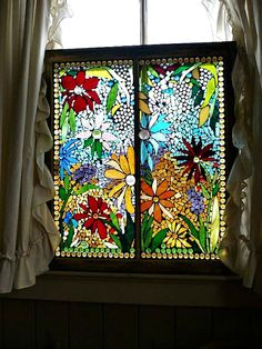 Flowers in stained glass.