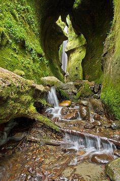 Secret Falls, Sombrio Beach, West Coast, Vancouver, Island - A beautiful hidden waterfall in a moss covered canyon. Water dripping from the ferns and lichen greats you as you enter the canyon. Places Around The World, Oh The Places You'll Go, Places To Visit, Around The Worlds, Whistler, Alaska, Beautiful Waterfalls, Canada Travel, Island Life