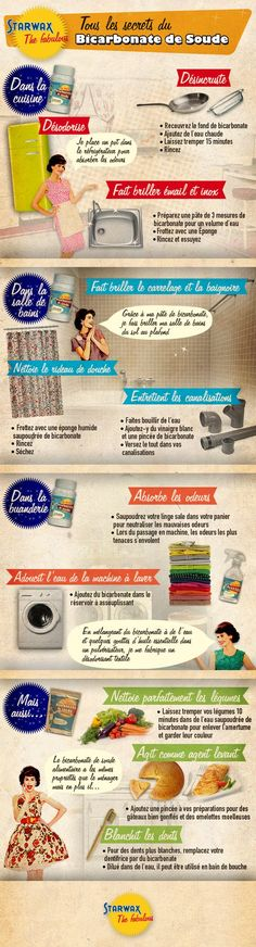 The best DIY projects & DIY ideas and tutorials: sewing, paper craft, DIY. Ideas About DIY Life Hacks & Crafts 2017 / 2018 Infographie : toutes les utilisations du Bicarbonate de Soude -Read