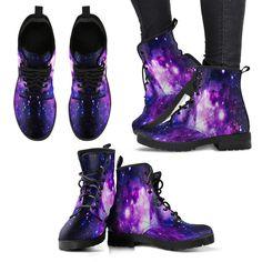 Dark Purple Universe Galaxy Space Print Women's Boots – Galaxy Art Galaxy Outfit, Galaxy Shoes, Floral Combat Boots, Combat Boots Style, Cute Shoes, Me Too Shoes, Mode Kawaii, Galaxy Fashion, Punk Boots