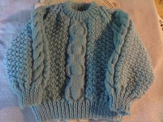 by MaddisonsRainbow on Etsy Aran Jumper, Cable Sweater, Men Sweater, Light Blue Sweater, Blue Sweaters, Handmade Crafts, Costumes, Pullover, Trending Outfits