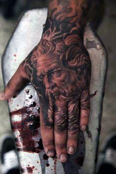 Greek God Apollo Men's Hand Tattoos