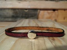 Trestle Leather: Skinny Leather Bracelet. $7.00, via Etsy.