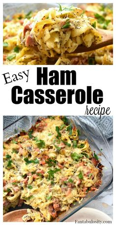 Easy ham casserole recipe with ham leftovers Ham Casserole - Swiss Cheese & Noodle Bake - Fantabulosity Recipes With Cooked Ham, Leftover Ham Recipes, Leftovers Recipes, Pork Recipes, Cooking Recipes, Recipes On A Budget, Diced Ham Recipes, Recipes Using Ham, Easy Ham Recipes