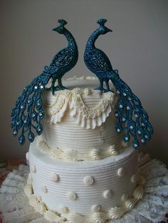 Pair of Peacocks Cake Topper Embellished with Swarovski Crystals