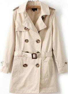 Apricot Lapel Long Sleeve Belt Epaulet Coat