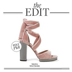 """The Edit: Valentino Velvet Sandals"" by polyvore-editorial ❤ liked on Polyvore featuring Valentino and theedit"