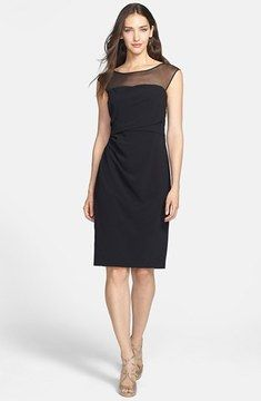 Vera Wang Illusion Side Ruched Sheath Dress on shopstyle.com