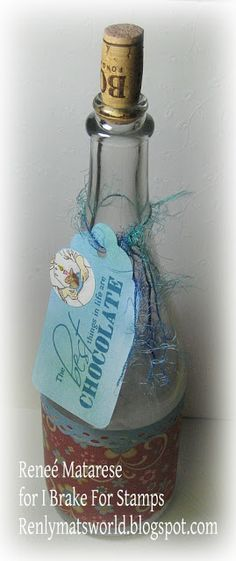 Repurposed champagne or wine bottle to give as a gift.  I'm going to fill with a Reese peanut butter chocolate martini recipe I got on Pinterest.  Recipe link is on my blog.  Verse and cake image are from I Brake For Stamps. (there's a coupon on the blog to purchase stamps)