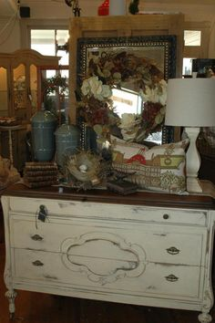 BB Home Shop - The Vintage Market Place finished this dresser in Old Ochre Chalk Paint® decorative paint by Annie Sloan with Clear wax and refinished the top with dark and clear wax.