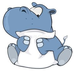 Illustration about Small blue hippopotamus with a white pillow. Illustration of mascot, small, animated - 49125613 Animal Paintings, Animal Drawings, Cute Drawings, Fat Cartoon, Baby Animals, Cute Animals, Cute Hippo, Disney Tattoos, Cute Animal Pictures