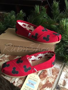 554a6883e9e Women s Mickey Mouse Heads Red Toms Disney Shoes Disney Mickey Shoes