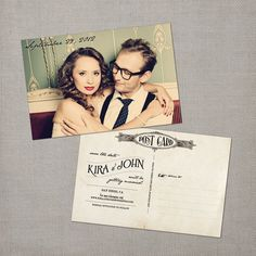I love the postcard idea.  The vintage fonts and filagree plus classy, upscale yet fun photo make this an item guests will keep posted until your wedding date!