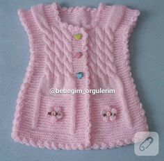 pink-Orgel-Baby-Jacke-how-to-Video-up – Baby Kleidung Baby Knitting Patterns, Knitting For Kids, Crochet For Kids, Knitting Designs, Baby Pullover, Baby Cardigan, Baby Scarf, Tunisian Crochet, Knit Crochet