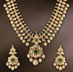 Ideas For Jewerly Gold Necklace Indian Uncut Diamond Indian Jewellery Design, Latest Jewellery, Jewelry Design, Jewellery Shops, Pakistani Jewelry, Indian Necklace, India Jewelry, Gold Jewelry, Antique Jewelry