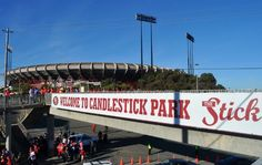 49ers. I want to see this sign this year before they leave it..The least they could do is give the new stadium an interesting name not just another commercial company brand name.  You always knew whose place Candlestick Park was.