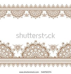 Border seamless brown pattern elements with flowers and lace lines in Indian mehndi style isolated on white background. Vector illustration