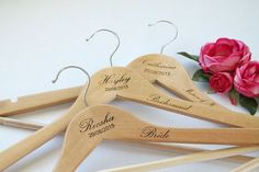 Set of 3 Personalized wood wedding hangers bride's and by TreeX