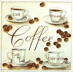 4 x Single Luxury Paper Napkins for Decoupage and Craft  Vintage Coffee Time #Decoupage