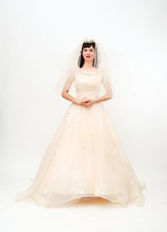 Beautiful in blush. Vintage 1960s Wedding Dress